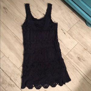 Crochet dark blue mini dress